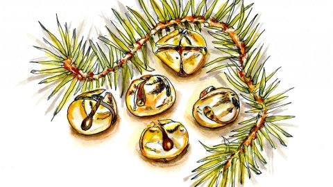 Day 11 - Jingle Bells Watercolor Garland - Doodlewash