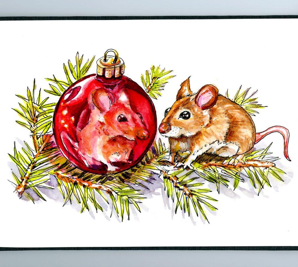 Christmas Mouse Watercolor Ornament Reflection Sketchbook Detail - Doodlewash