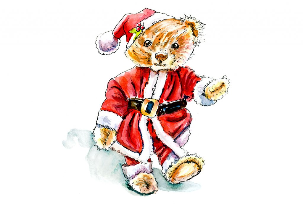 Day 13 - Christmas Teddy Bear Watercolor - Doodlewash