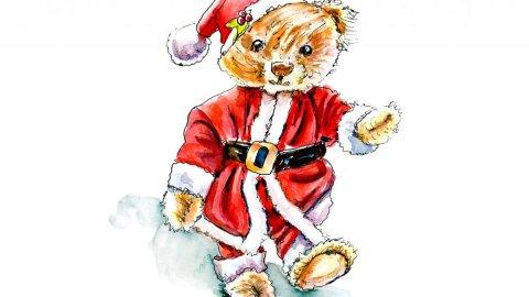 Day 13 - Christmas Teddy Bear Watercolor - Doodlewash