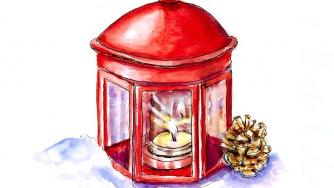 Day 15 - Christmas Lantern With Candle Watercolor - Doodlewash