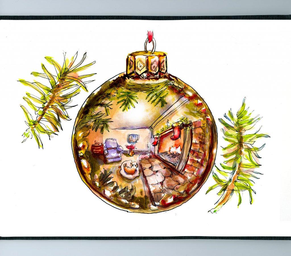 Day 16 - Christmas Ornament Reflection Watercolor Sketchbook Detail - Doodlewash