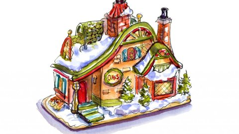 Day 19 - Santa Claus Cottage Watercolor - Doodlewash