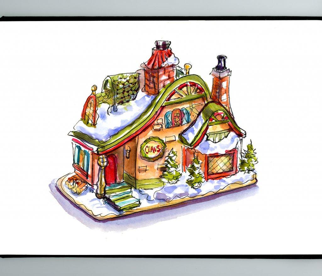 Day 19 - Santa Claus Cottage Watercolor - Sketchbook Detail - Doodlewash