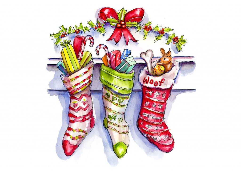 Day 23 - Three Christmas Stockings Watercolor - Doodlewash