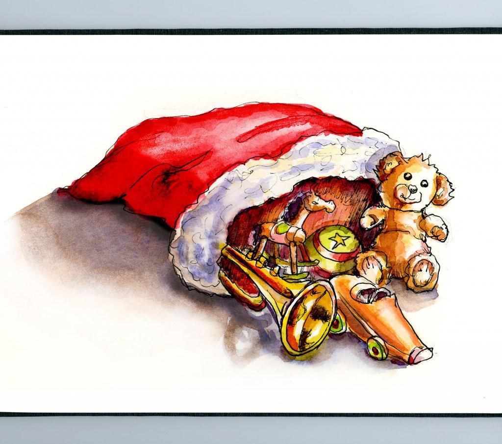 Day 25 - Santa Bag Toys Watercolor - Sketchbook Detail - Doodlewash