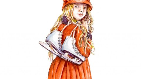 Day 28 - Little Girl With Ice Skates Watercolor - Doodlewash