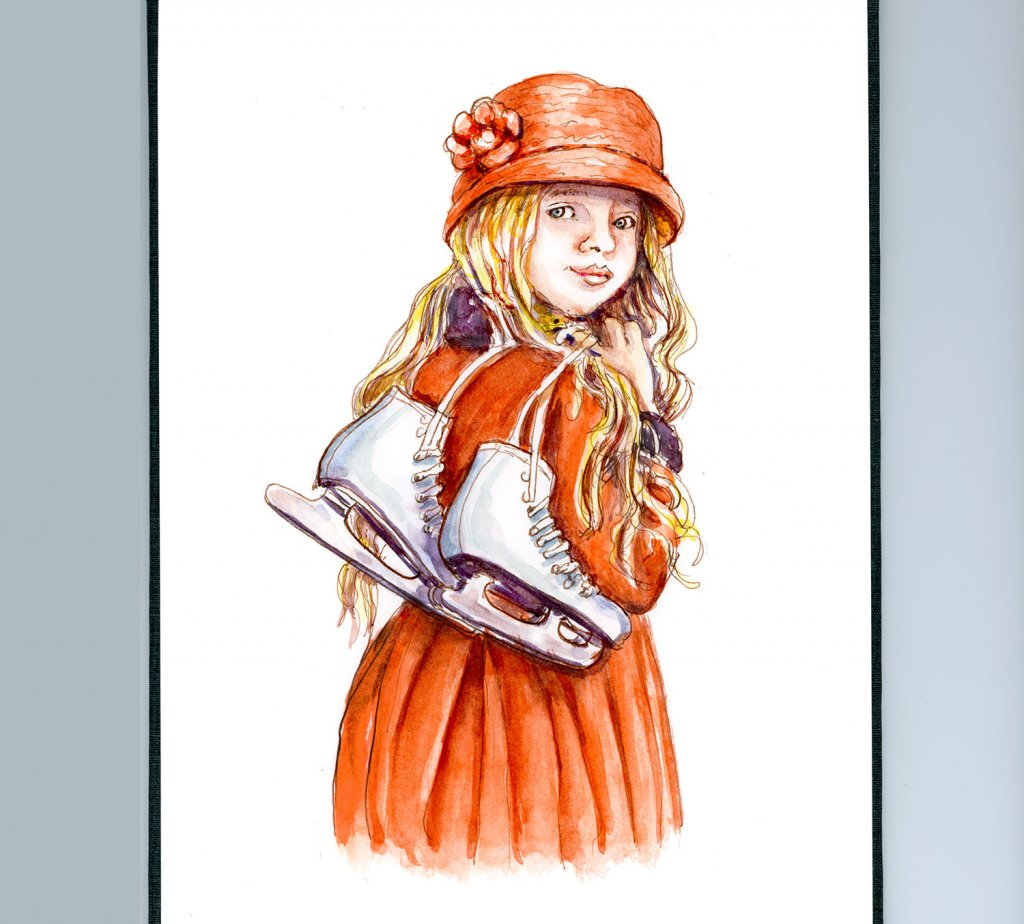 Day 28 - Little Girl With Ice Skates Watercolor - Sketchbook Detail - Doodlewash