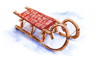 Day 29 - Wooden Sled Winter Watercolor - Doodlewash