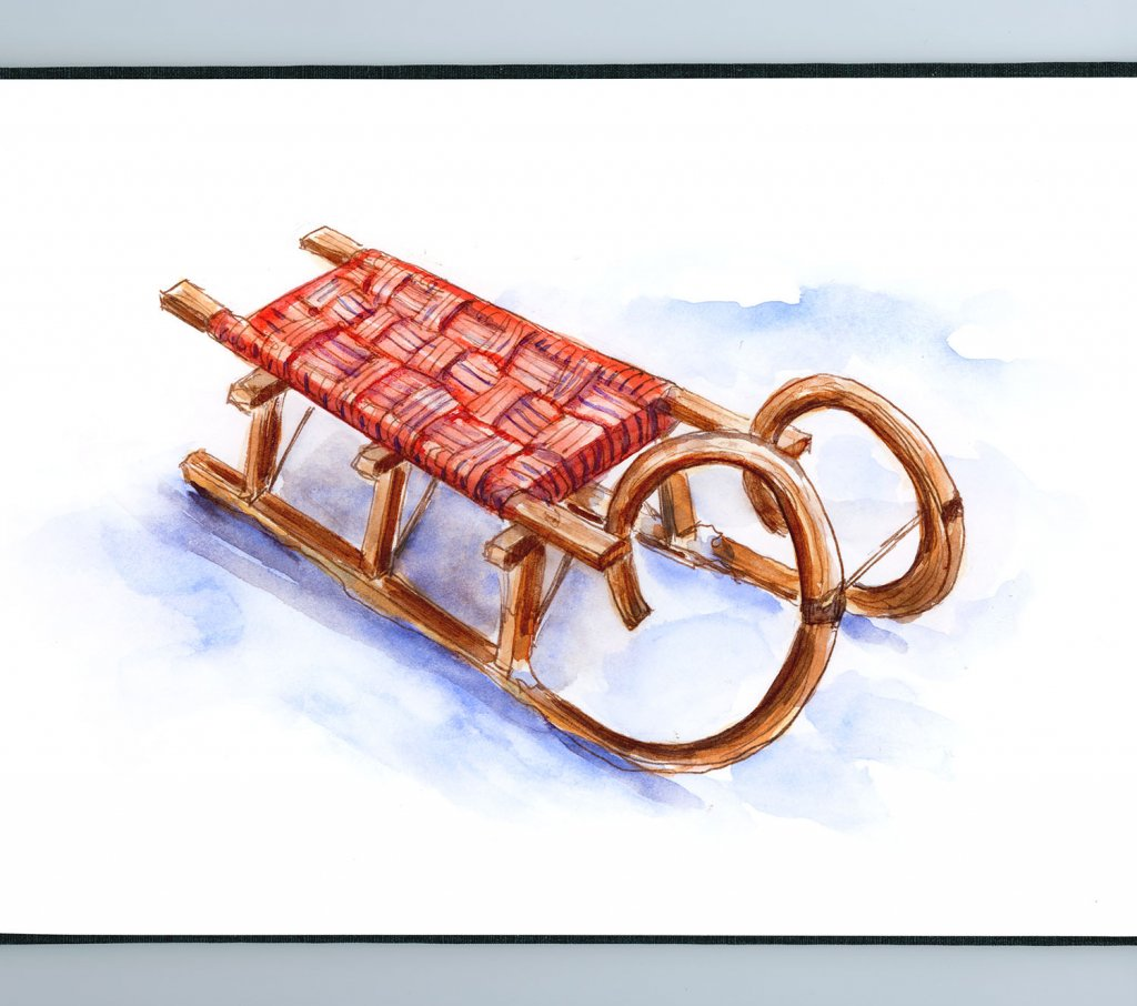 Day 29 - Wooden Sled Winter Watercolor - Sketchbook Detail - Doodlewash