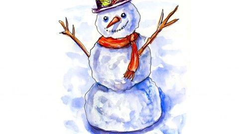 Day 4 - Snowman Watercolor Illustration - Doodlewash