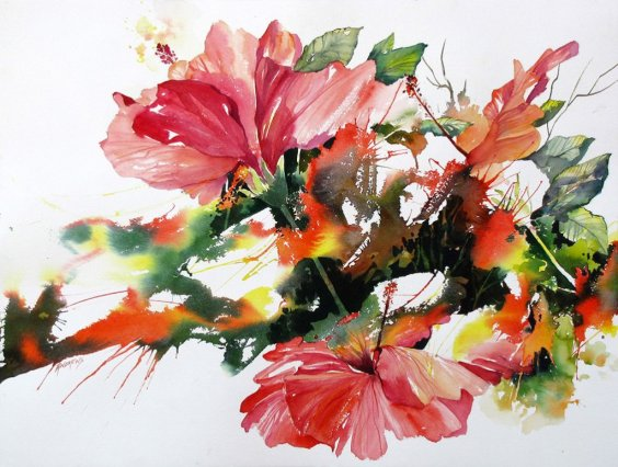 Watercolor by Rae Andrews - Dazzlers watercolor 22 x 30 unframed