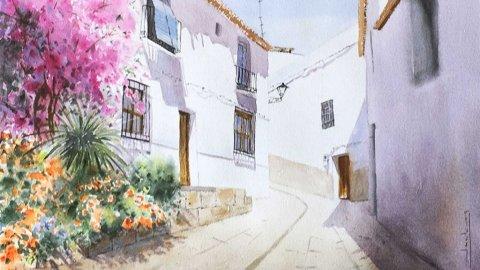Granada, Salobrena Watercolor by Teresa Santos - Doodlewash