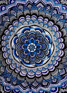Another Zentangle art work with black & blue ball point pen and sky blue glitter pen IMG_2018120