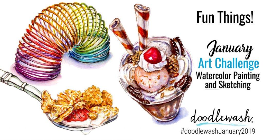 January 2019 Doodlewash Art Challenge - Fun Things