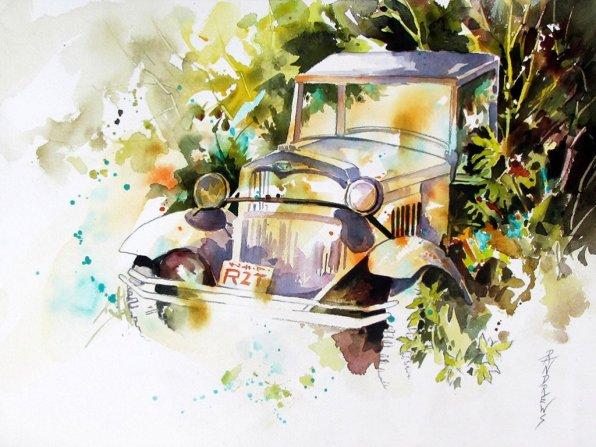 Watercolor by Rae Andrews - Memories 12 x 16 watercolor