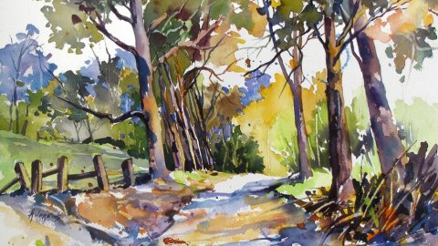 Watercolor by Rae Andrews - Olinda Trees Maui 12 x 16 watercolor