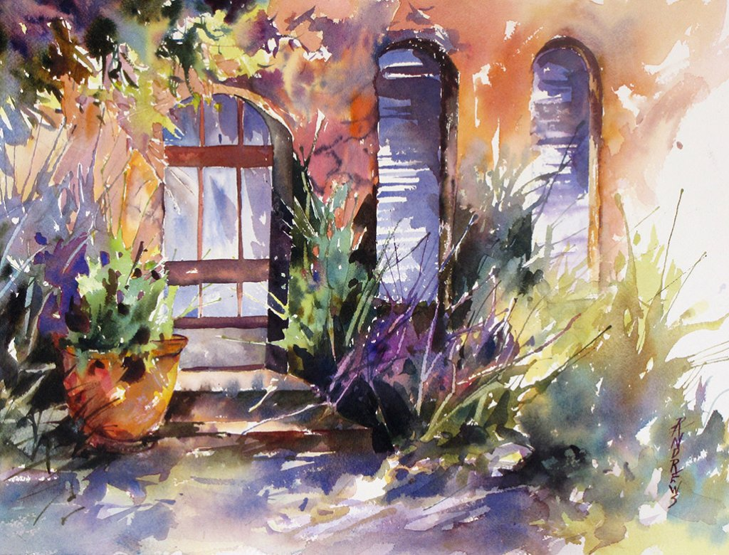Watercolor by Rae Andrews - Shadowed Welcome watercolor 12 x 16