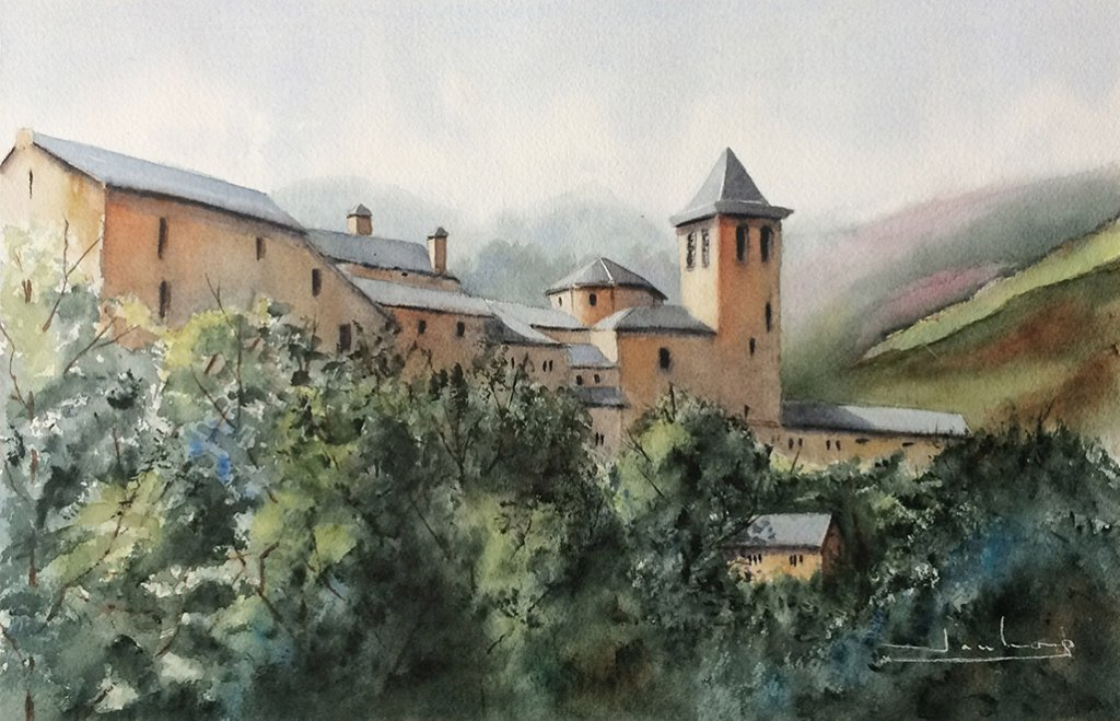 Torla, Huesca Watercolor by Teresa Santos - Doodlewash