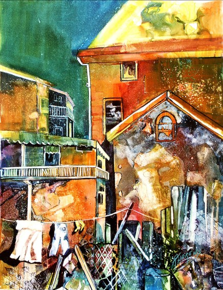Watercolor by Rae Andrews - Urban Scene 1