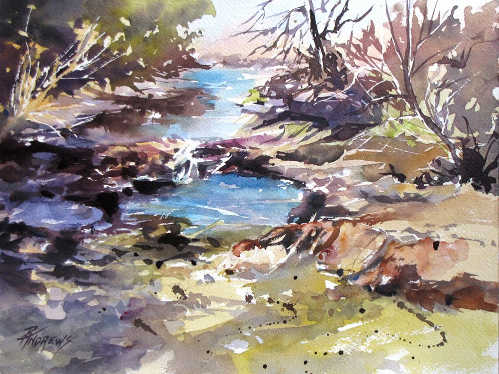 Watercolor by Rae Andrews - Watering Hole Watercolor 9 x 12