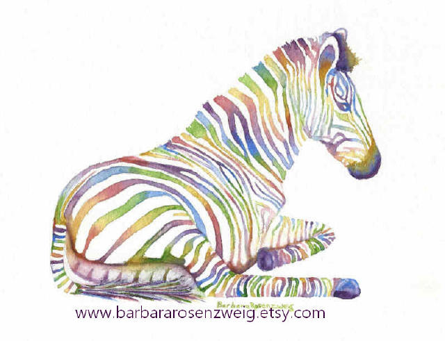 Zebra Watercolor by Barbara Rosenzweig - Doodlewash