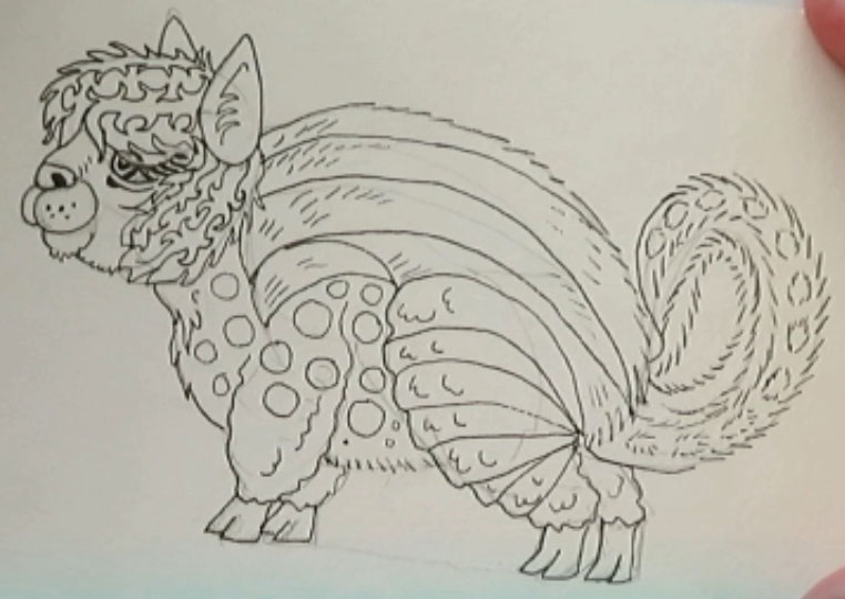 Drawing Detail - alebrijes acuarela watercolor alpacamunk