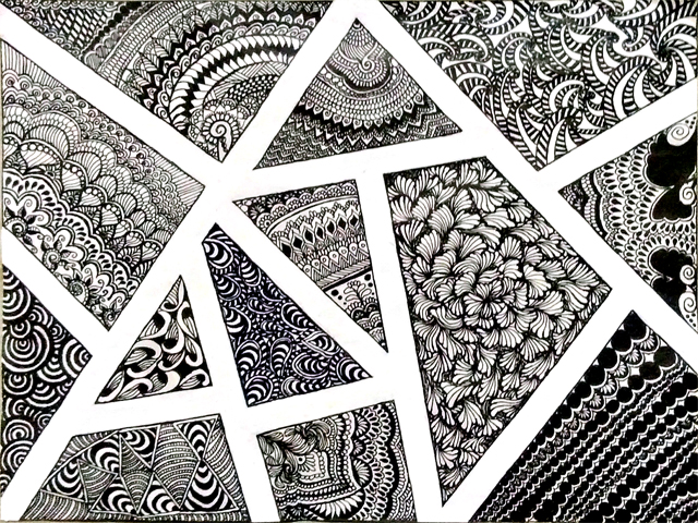 Abstract Zentangle: Zentangle love, black ball point pt5