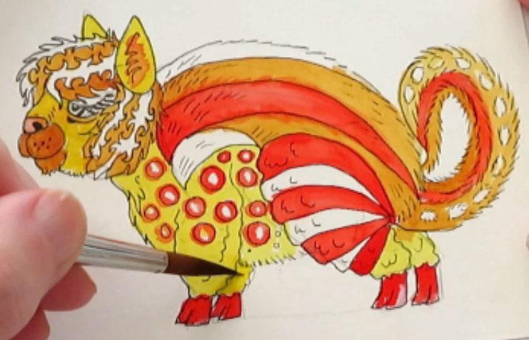 Painting Pyrrol Scarlet - alebrijes acuarela watercolor alpacamunk