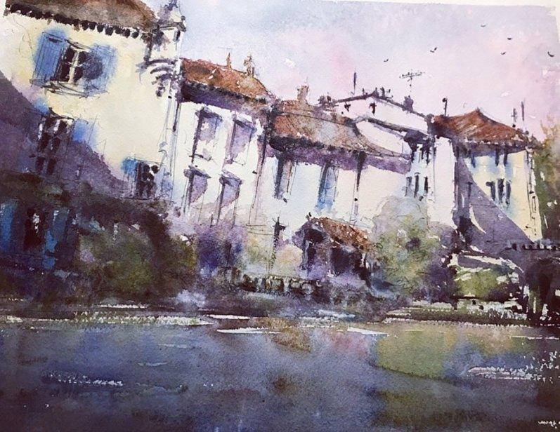 Brantome France Watercolor By Al Kline - Doodlewash