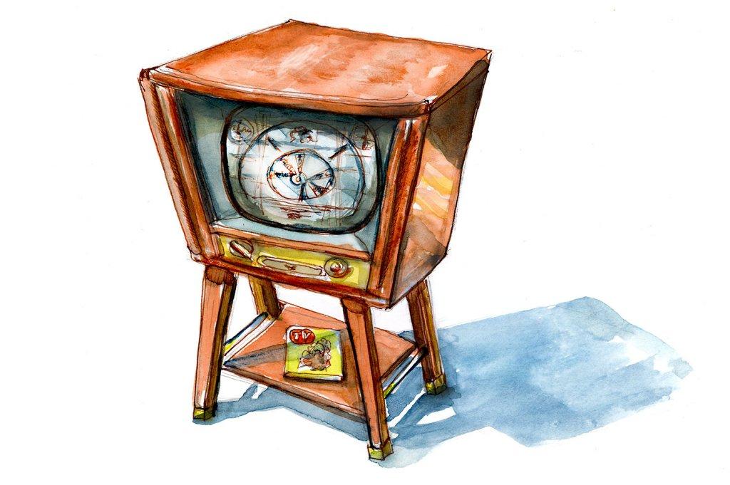 Day 11 - Vintage Antique Television Illustration - Doodlewash