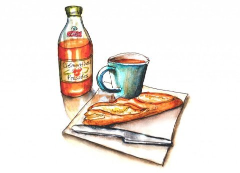 Day 14 - Breakfast In Paris Watercolor - Doodlewash