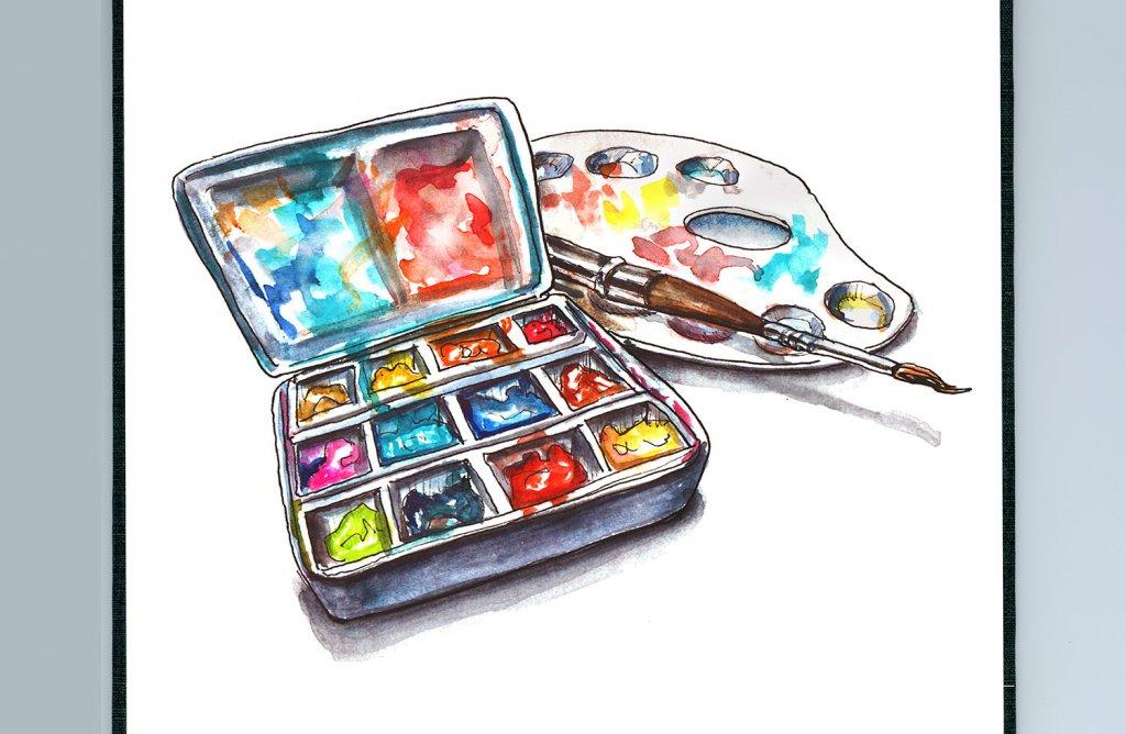 Day 16 - Watercolor Travel Palette Illustration - Sketchbook Detail - Doodlewash