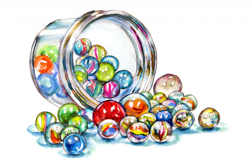 Day 2 - Marbles Jar Watercolor - Doodlewash