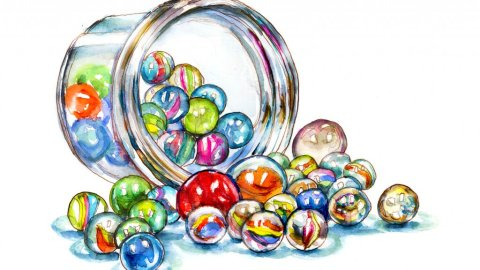 Day 2 - Marbles Jar Watercolor - Doodlewash