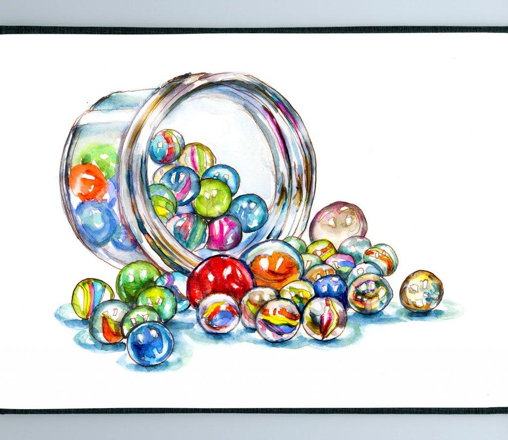 Day 2 - Marbles Jar Watercolor - Sketchbook Detail - Doodlewash