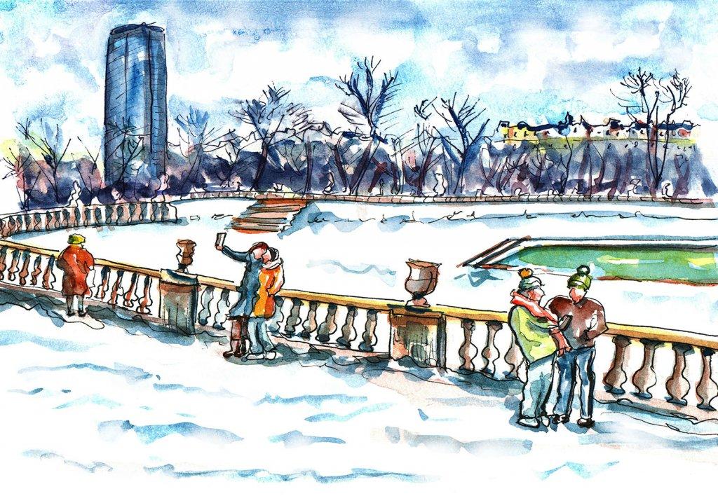 Day 22 - Paris Jardin du Luxembourg Gardens Watercolor - Doodlewash
