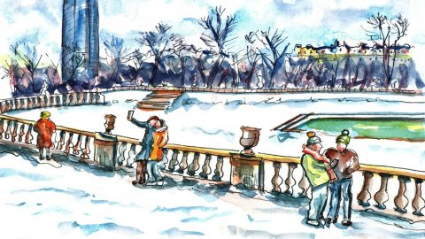 Day 22 - Paris Jardin du Luxembourg Gardens Watercolor - Doodlewash