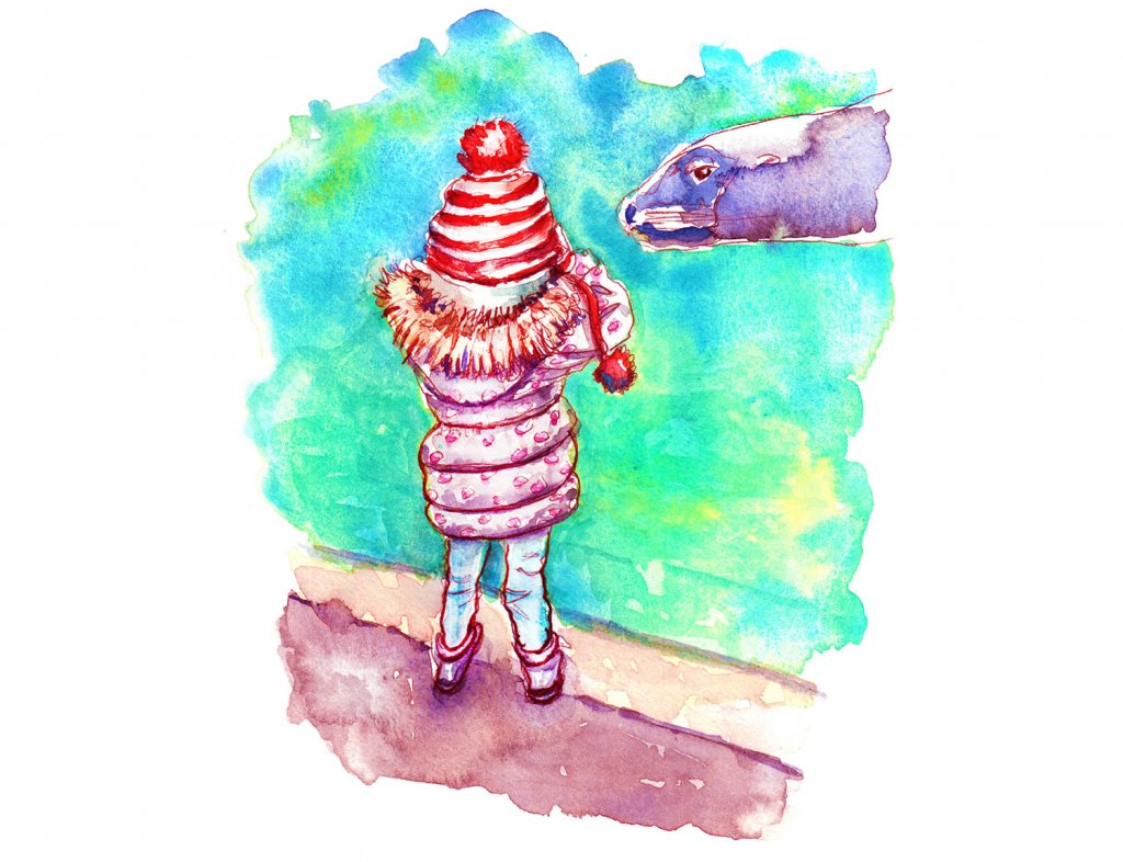 Day 24 - Seals Zoo Little Girl Watercolor - Doodlewash