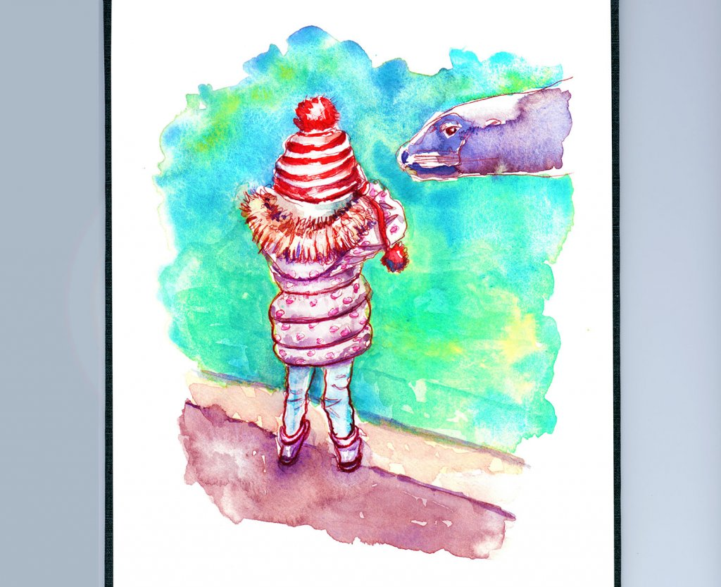 Day 24 - Seals Zoo Little Girl Watercolor - Sketchbook Detail - Doodlewash
