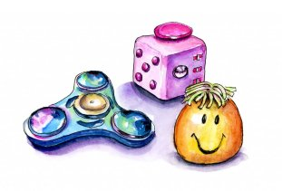 Day 29 - Fidget Toys Cube Spinner Stress Ball Watercolor - Doodlewash