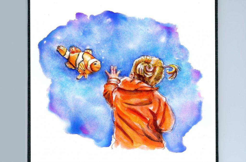 Day 4 - Finding Nemo Aquarium Watercolor - Sketchbook Detail - Doodlewash