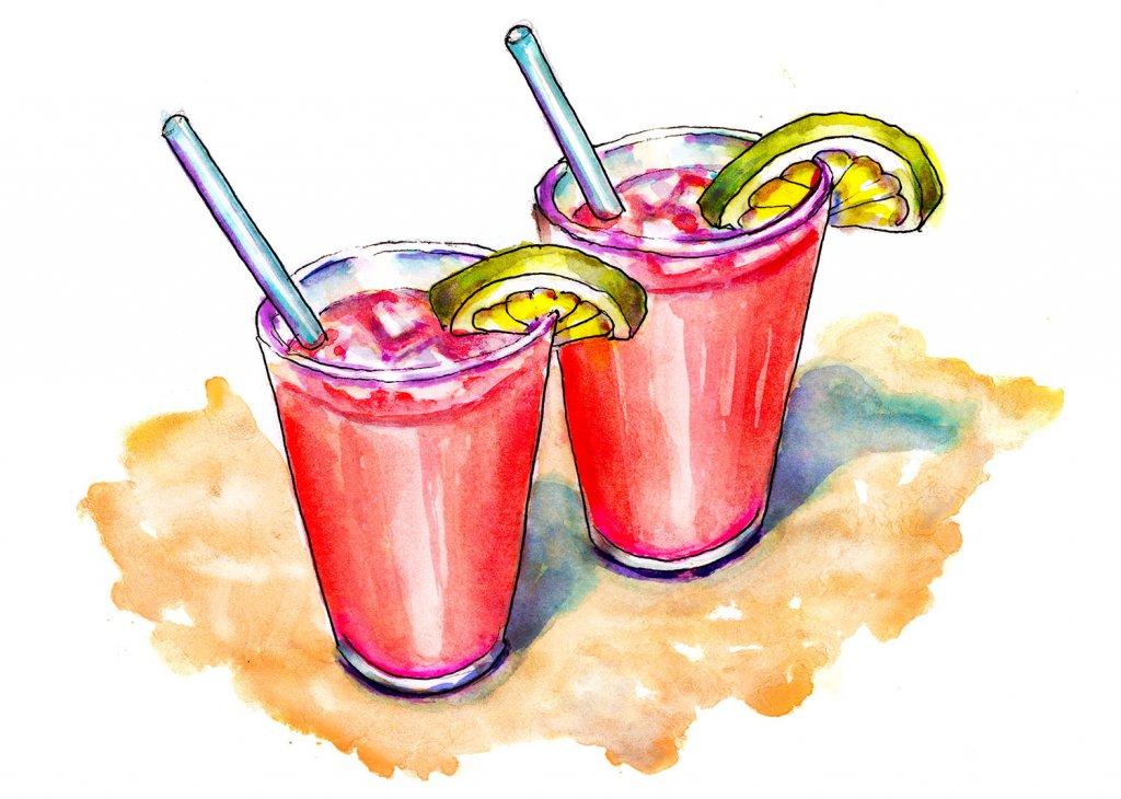Day 6 - Cherry Limeades Drinks Beach Illustration - Doodlewash