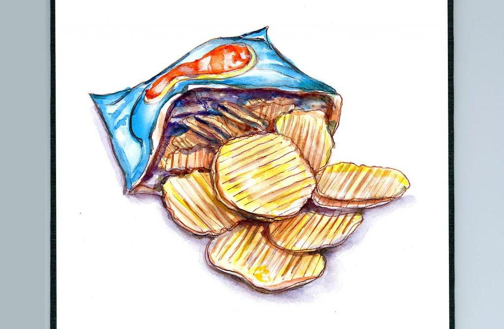 Day 7 - Potato Chips Crisps Snacks Illustration - Sketchbook Detail - Doodlewash
