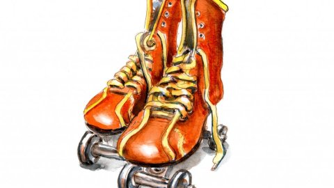 Day 9 - Vintage Roller Skates Watercolor - Doodlewash