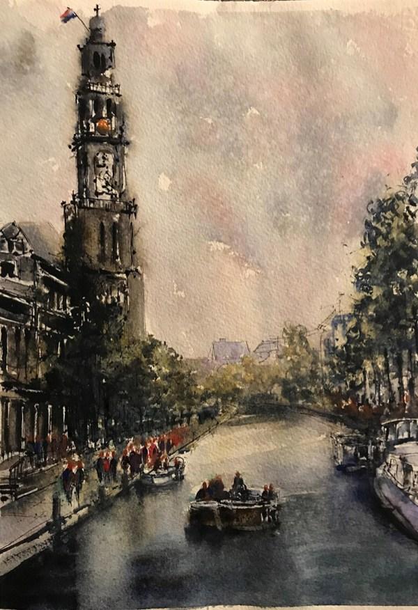 Dutch Canal Watercolor By Al Kline - Doodlewash