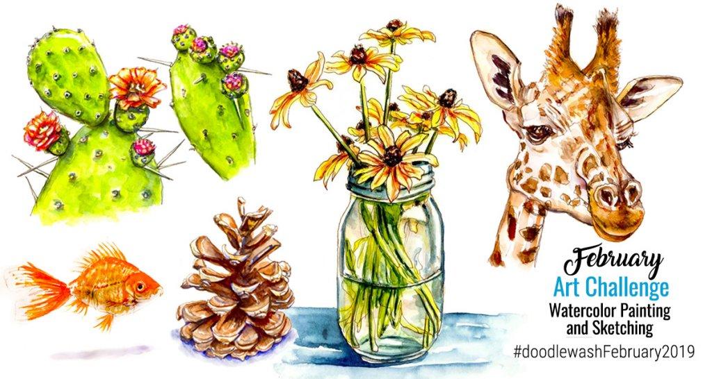 Doodlewash February Art Challenge 2019 Flora Fauna