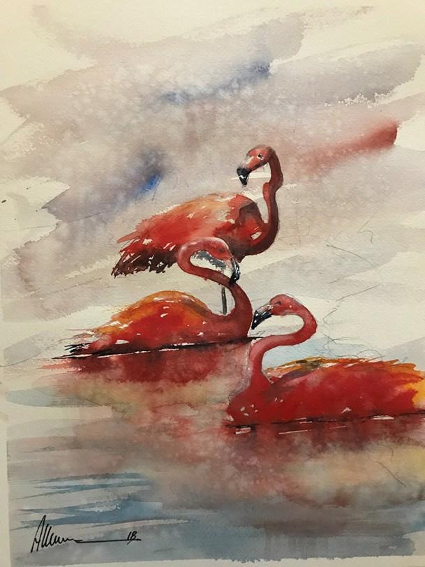 Flamingos Watercolor Watercolor By Al Kline - Doodlewash