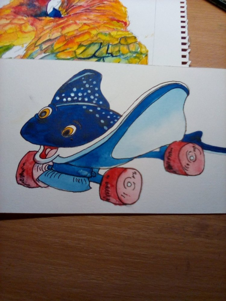 I am so falling behind. #January 8 #doodlewash. It's a roller skate IMG_20190110_1545