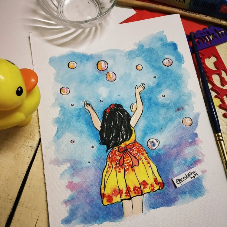 """Prompt 17 Day 17 #doodlewashjanuary2019 """"Lil nonu going after bubbles"""" No one can ever r"""